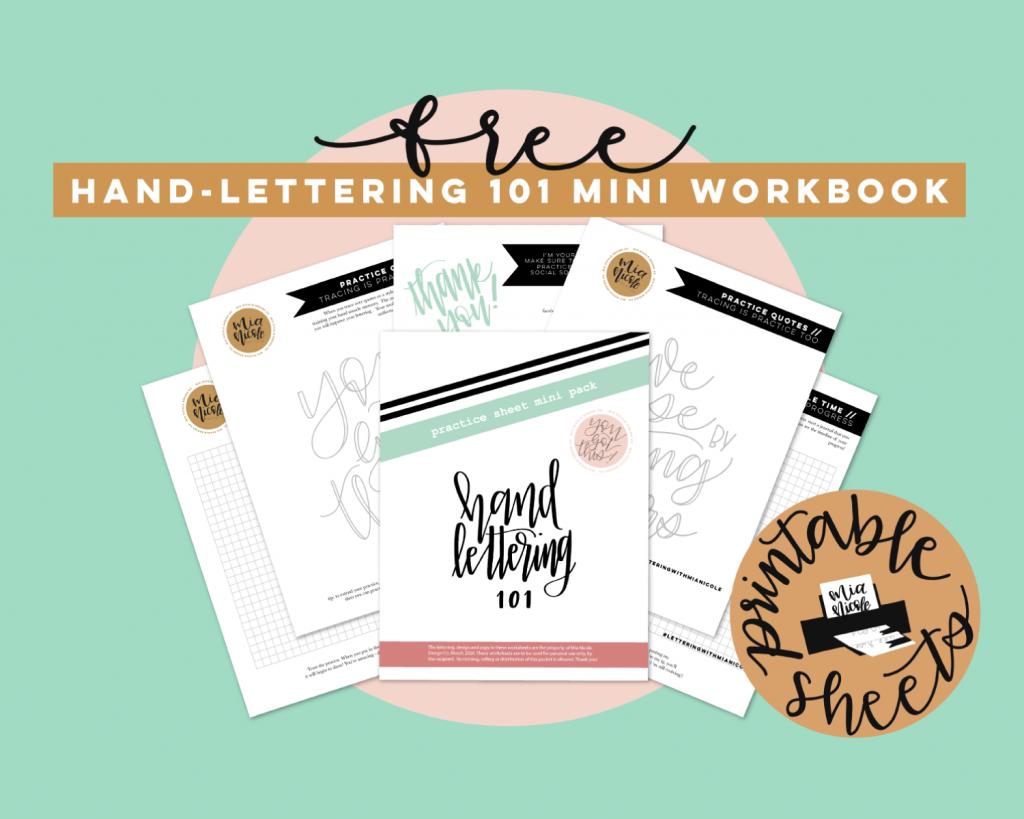 free hand-lettering 101 mini workbook