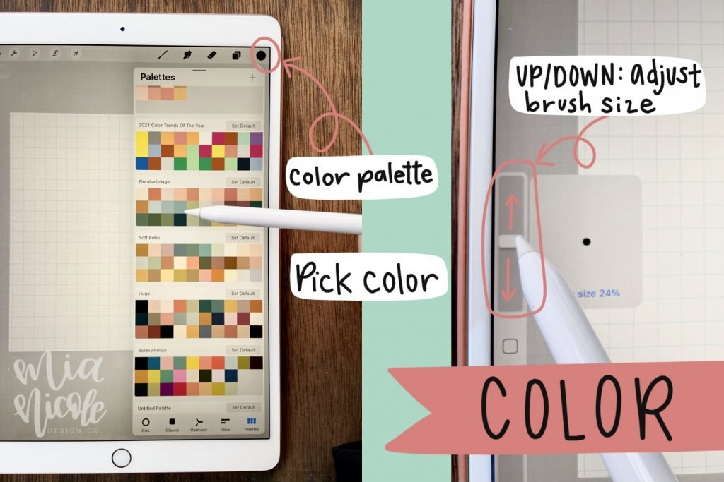 procreate tutorial for using color palette