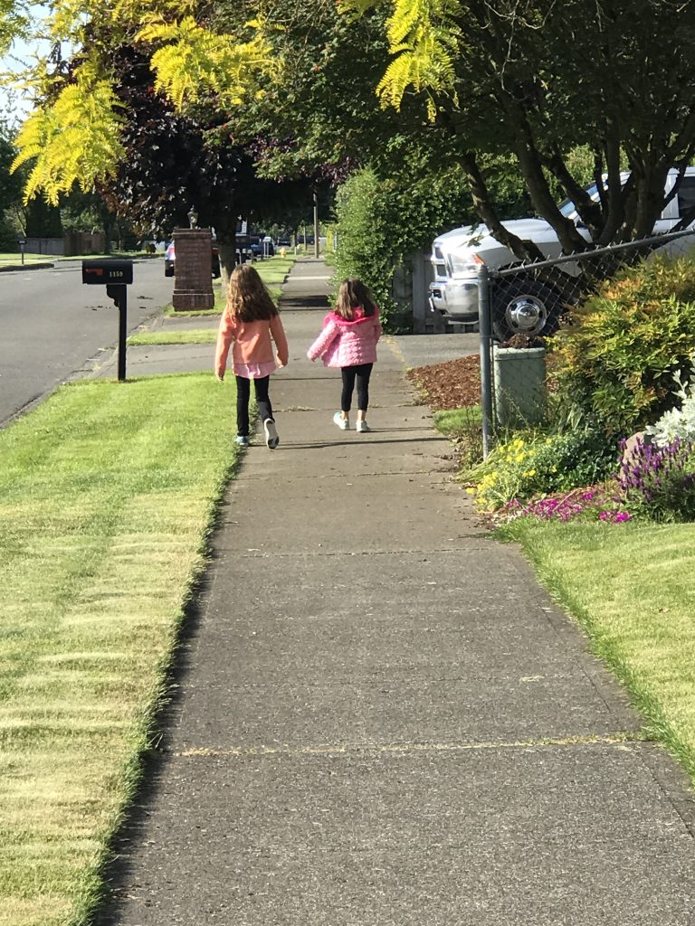 kids on a walk