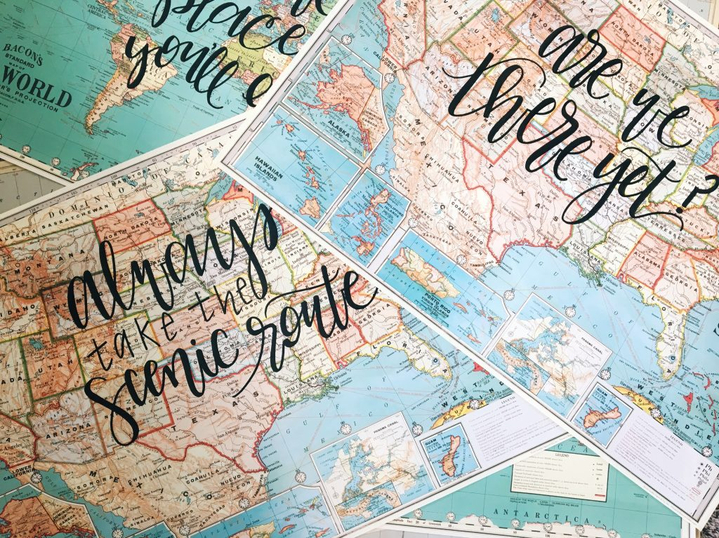 collage of maps with lettering on them